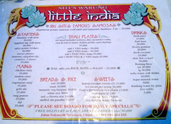 Warung Little India Restaurant Ubud